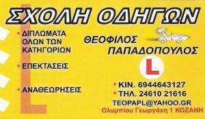ΣΧΟΛΗ ΟΔΗΓΩΝ ΚΟΖΑΝΗ - ΠΑΠΑΔΟΠΟΥΛΟΣ ΘΕΟΦΙΛΟΣ